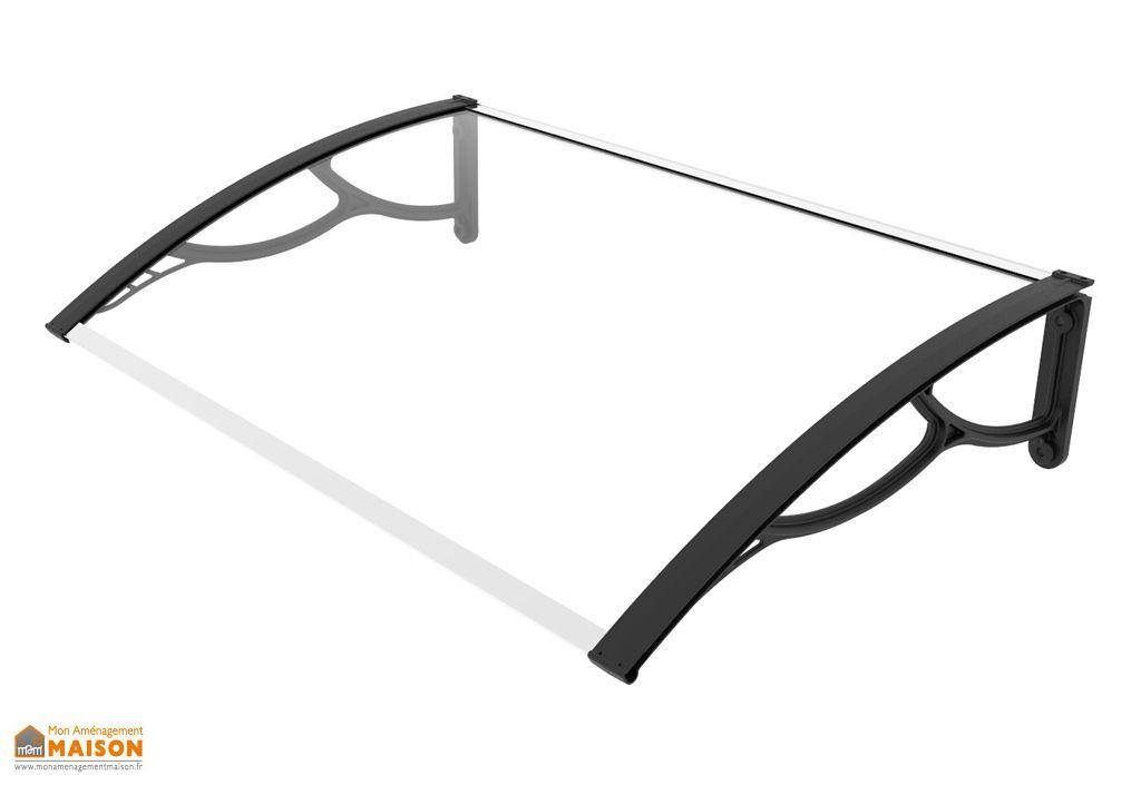 marquise de porte en polycarbonate transparent haute resistance 120cm