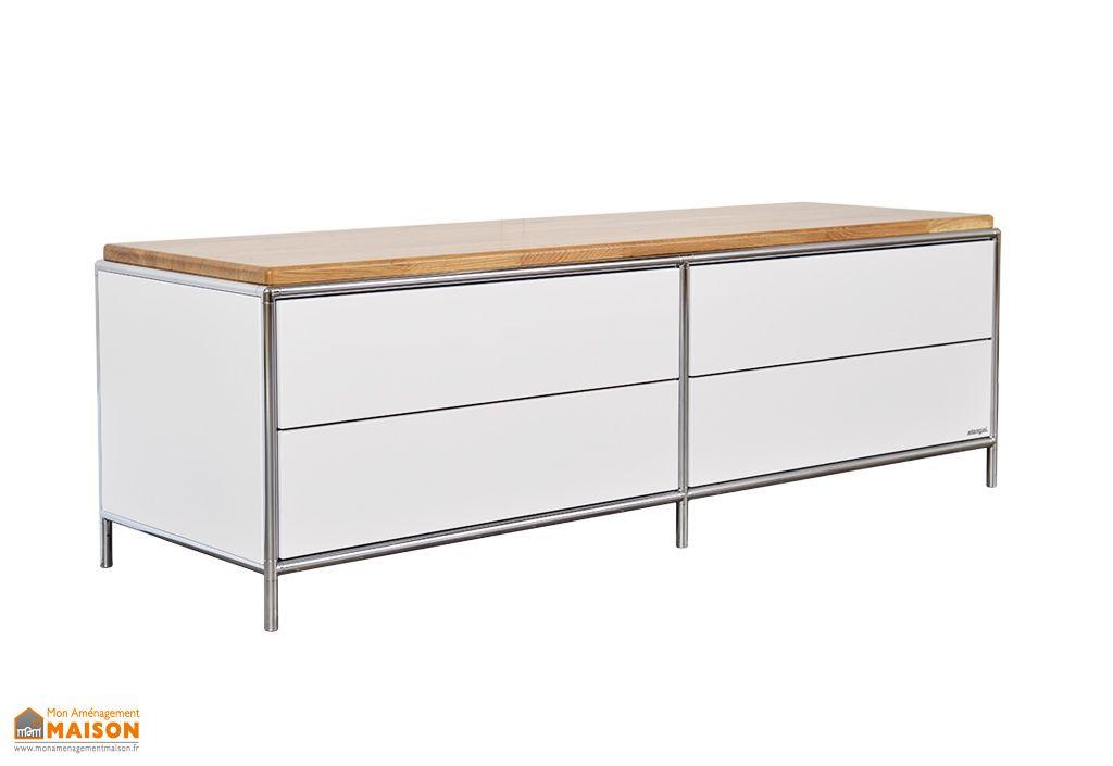 meuble bas tv en acier et chene massif a 4 tiroirs