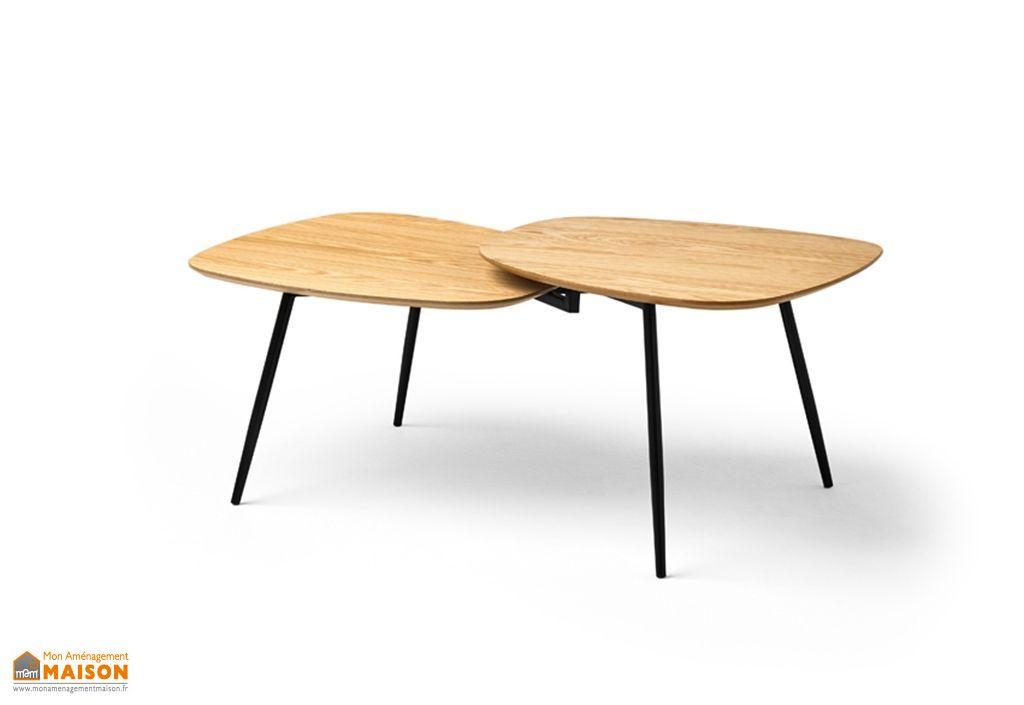 table basse de salon design en bois et metal originale 120 cm