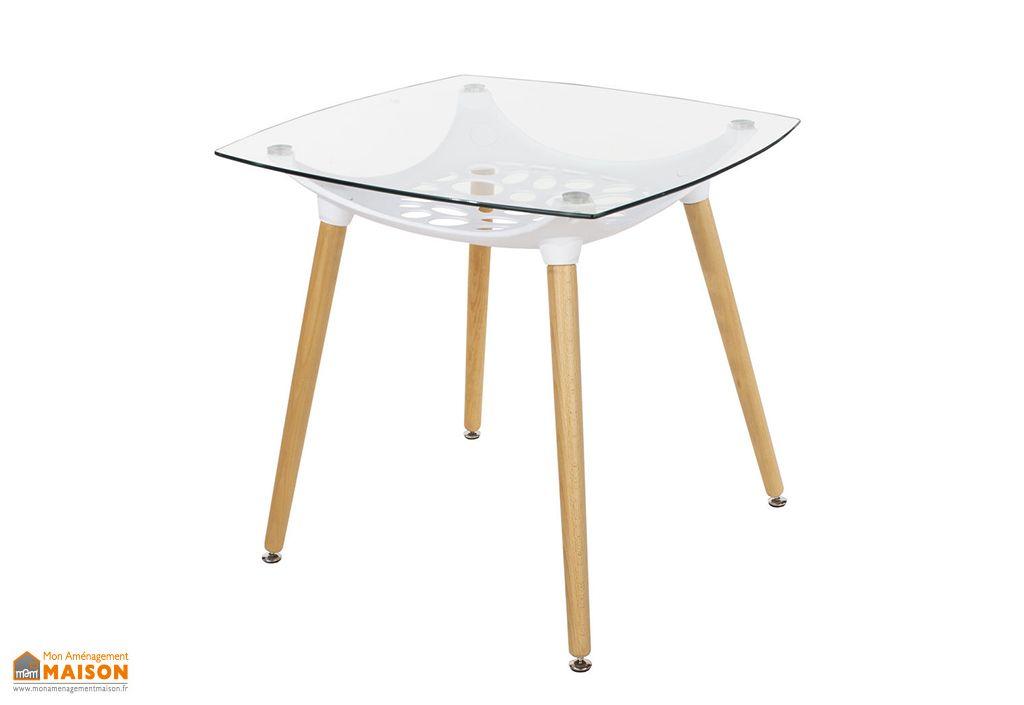 table a manger carree en bois polypropylene et verre asti 80 cm