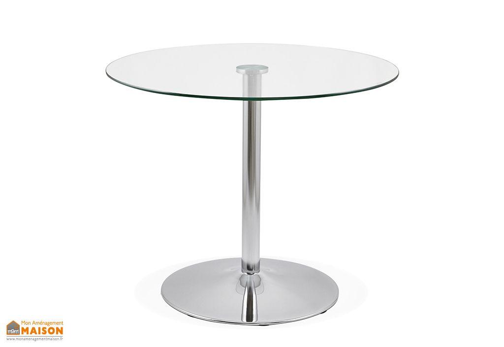 table a manger ronde en metal et verre euka o 90 cm