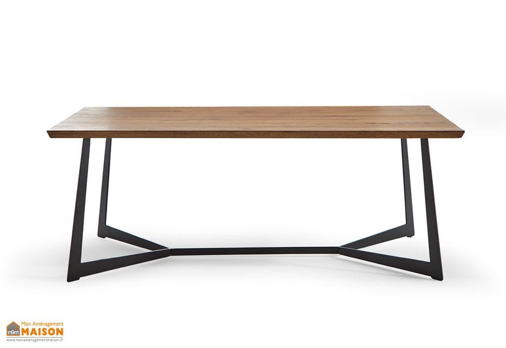 table de salle a manger rectangulaire en bois et metal 200 cm