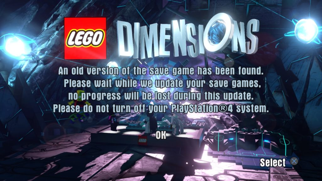 LEGO Dimensions - Save Data Update Message