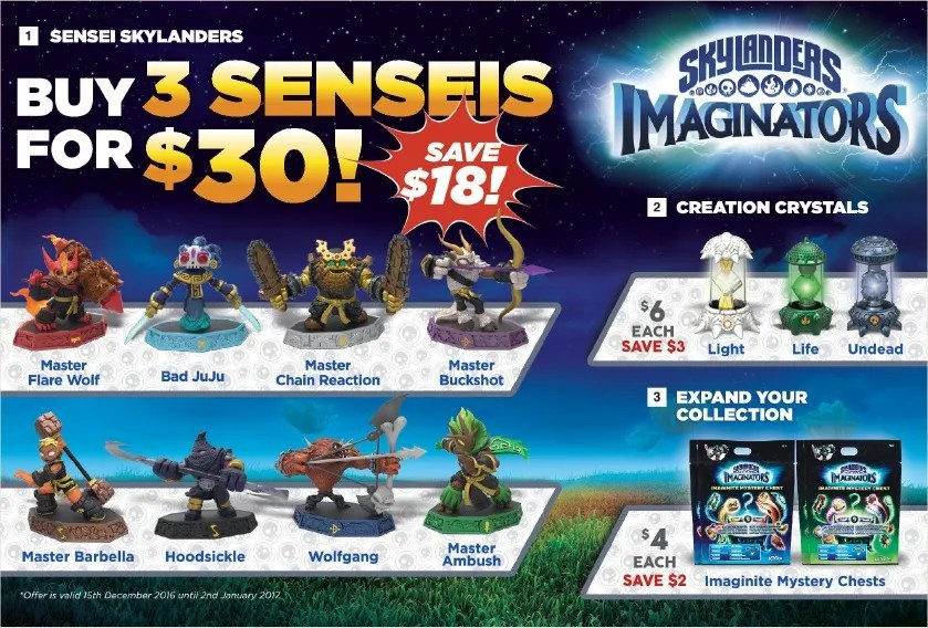 Skylanders Imaginators - 3 Senseis for $30 @ Target