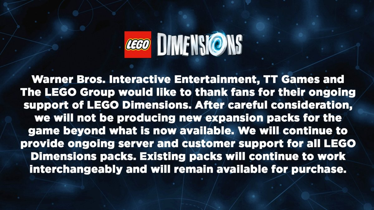 LEGO Dimensions Cancellation Message