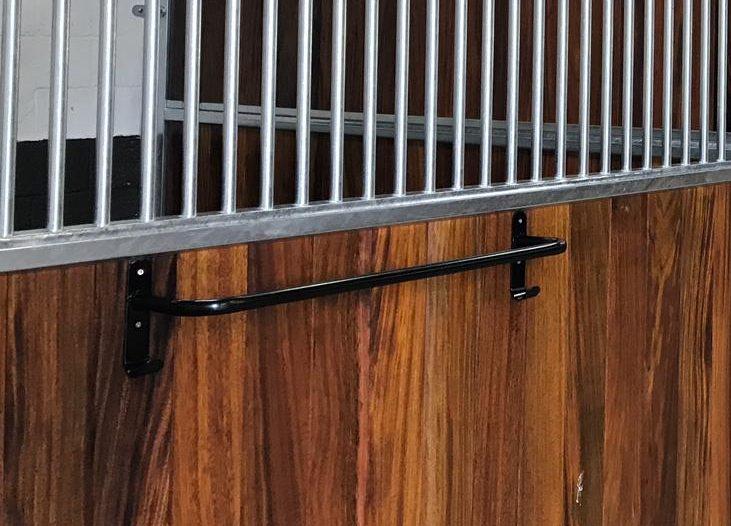 Monarch Equestrian Black rug rail on stable