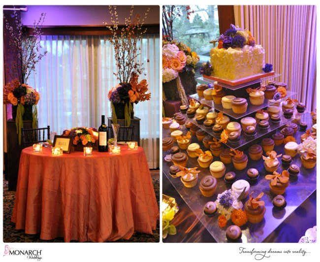 Lodge-torrey-pines-orange-purple-wedding-cupcake-stand