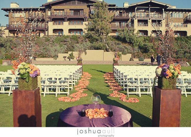 Lodge-at-torrey-pines-ceremony-orange-rose-scrolling-pattern-aisle