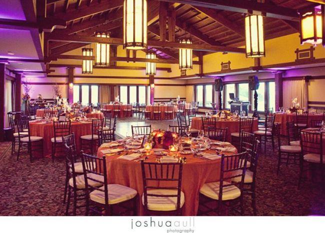 Lodge-at-Torrey-pines-wedding-orange-and-purple-wedding-mohagany-chiavari