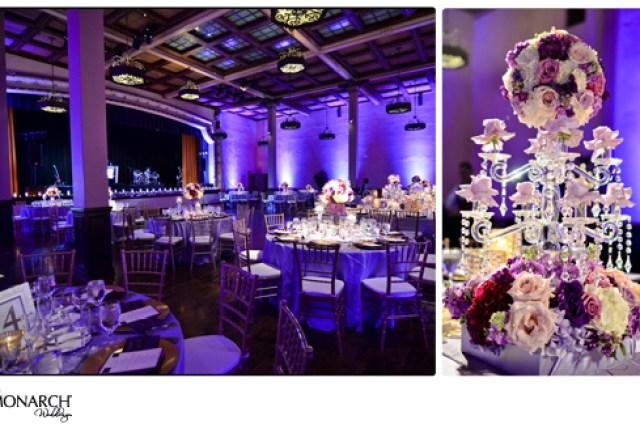 Purple-uplight-at-Prado-wedding-crystal-chandelier