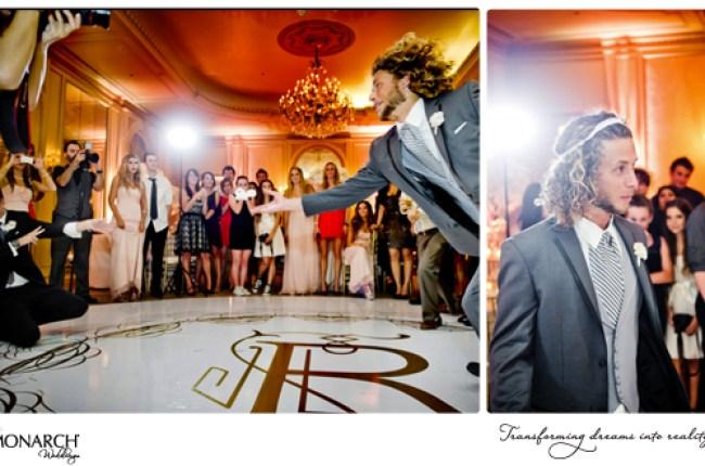 garter-toss-custom-white-dancefloor-groomsmen-wars-garter-on-head-westgate-hotel