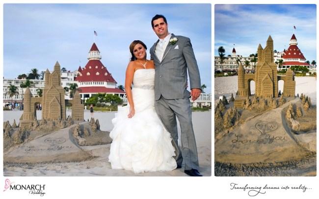 Bride-and-groom-with-sand-castle-infront-of-Hotel-Del-Coronado