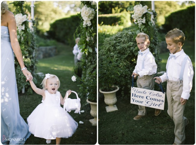 Garden-Chic-Rustic-Wedding-Ceremony-Ring-bearers-suspenders-with-sign