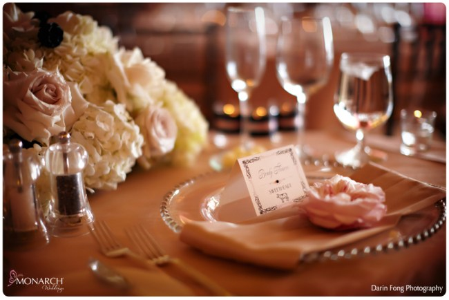 Blush-black-white-wedding-at-La-Valencia-glass-beaded-charger-plate