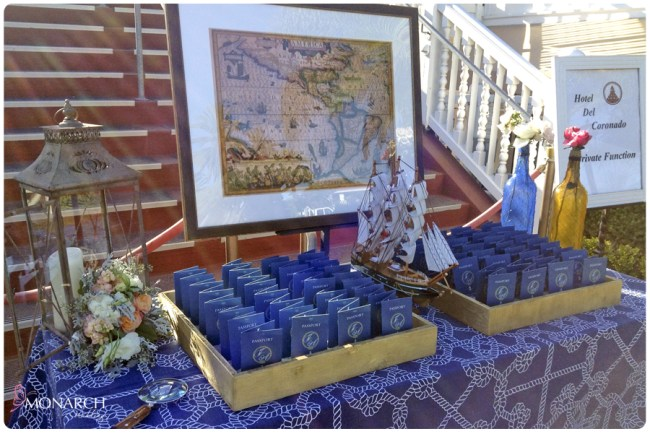 Place-card-table-passport-place-cards-Nautical-theme-wedding-hotel-del-coronado