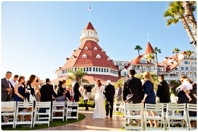 Vintage-nautical-wedding-hotel-del-bride-walking-down-aisle