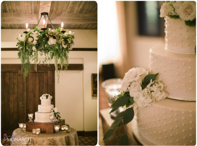 Rustic-garden-chic-wedding-cake-table-garden-floral-chandelier