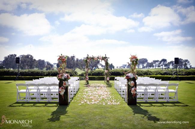 Lodge-at-Torrey-pines-wedding-blush-rustic-ceremony-arbor
