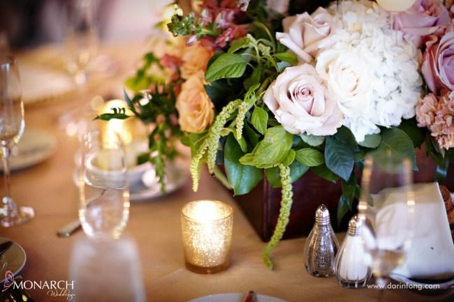 Lodge-at-Torrey-pines-wedding-reception-rustic-florals-gold-votive