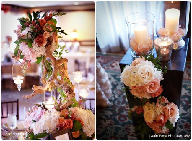 Lodge-at-Torrey-pines-wedding-hurricane-candles-driftwood-centerpiece