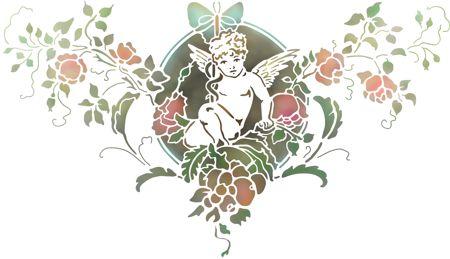 pochoir ange et fleurs de style baroque