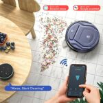 Aspirateur Robot,2100Pa Robot Aspirateur, 7.6cm Mince, Capteur de Collision 6D App/Alexa/Télécommande 500ml Détection d'Obstacles Silencieux Idéal pour Les Tapis Poil Ras Sols Durs Poils D'animaux K2