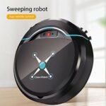 Dulov Aspirateur robot intelligent et balai automatique pour poils d'animaux, tapis, sols durs, carrelage (noir)