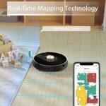Uoni V980Plus Aspirateur Robot avec Poubelle Auto-vidange, Système de Navigation Lidar, Robots Aspirateurs Cartographie Multi-étage 2700Pa Aspiration avec Zones sans Déplacement pour Poils d'animaux