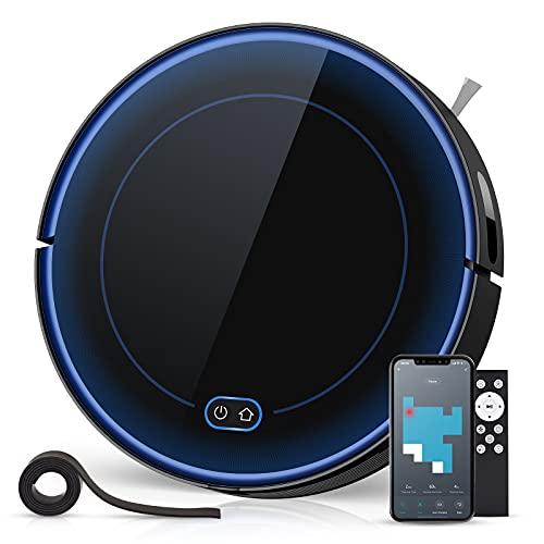 Aspirateur Robot 2000Pa, Robot Aspirateur Laveur 2 en 1 Balaye et Lave, 130 Minutes, 500ML, Contrôle avec WiFi App Alexa, Aspirateur Laveur Retourne Seul à Sa Base De Chargement pour Poils d'animaux