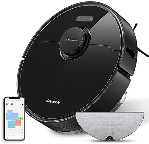 Dreame L10 Pro Aspirateur Robot 4000Pa, 150 Minutes Autonomie, LDS Navigation, Contrôle avec WiFi/Alexa/App, Nettoyeur et Laveur 2 en 1, Idéal pour Poils d'Animaux, Cheveux, Tapis et Sols Durs-Noir