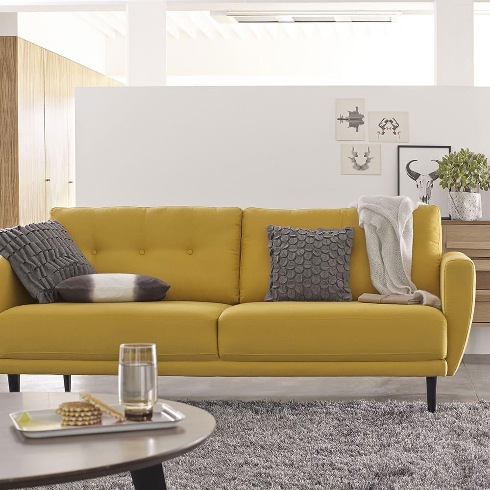 tapis gris et canape jaune 2 places