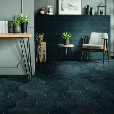 carrelage sol hexagonal effet carreaux de ciment 24x27 7 green blue naturel collection miami cir