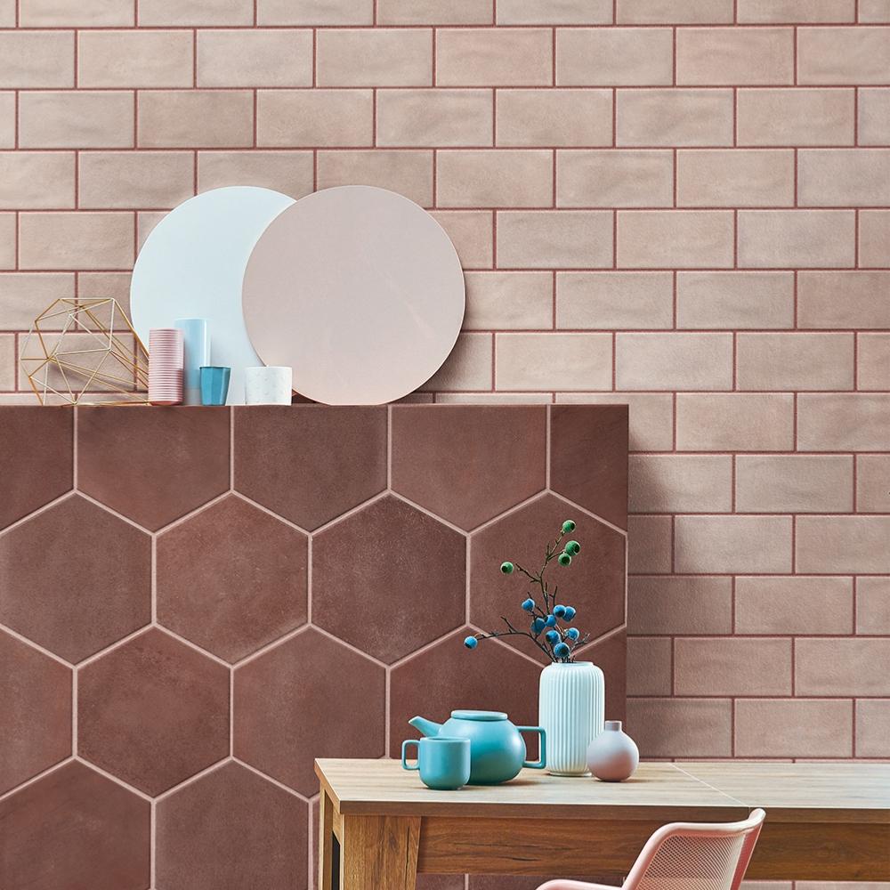 carrelage mural effet terre cuite emaillee 10x20 pink velvet satine naturel materia prima cir