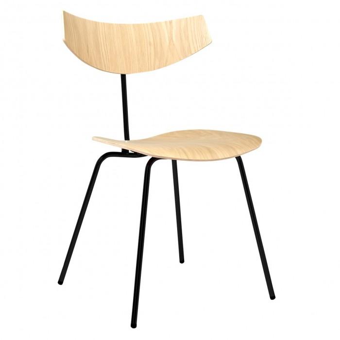 chaise bird chene blanchi acier vernis noir bolia
