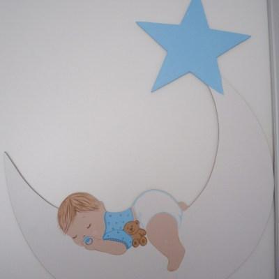 Ayda Uyuyan Bebek Kapı Süsü