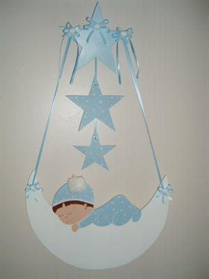 Uyuyan Bebek Ahşap Kapı Süsü - Erkek Bebek