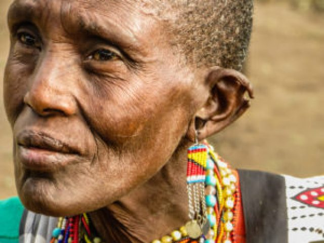 A Maasai woman looking somewhere in Kenya