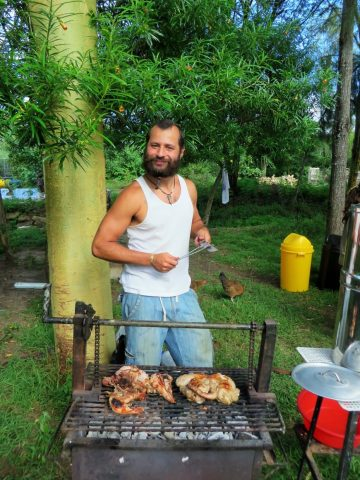 chicken on a barbecue with Tiago