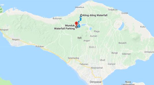 Melhores Cachoeiras em Bali, distância entre Aling Aling e Munduk