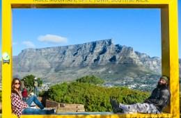 Com a Table Mountain de fundo, um dos passeio para fazer na África do Sul
