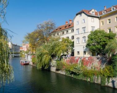 Ljubljanika river in the old town of Ljubljana, the capital of Slovenia