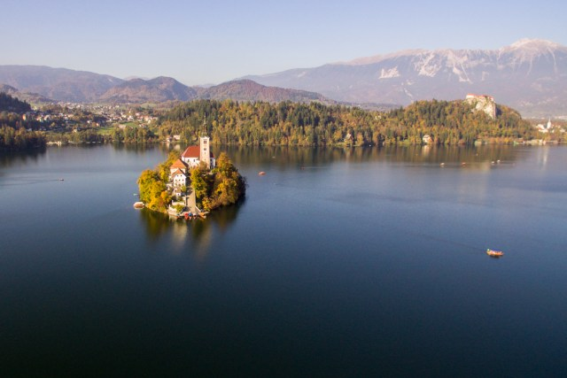 Drone shot of Lake Bled in Slovenia with its famous islet in the middle