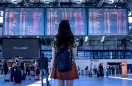 Girl standing in an airport