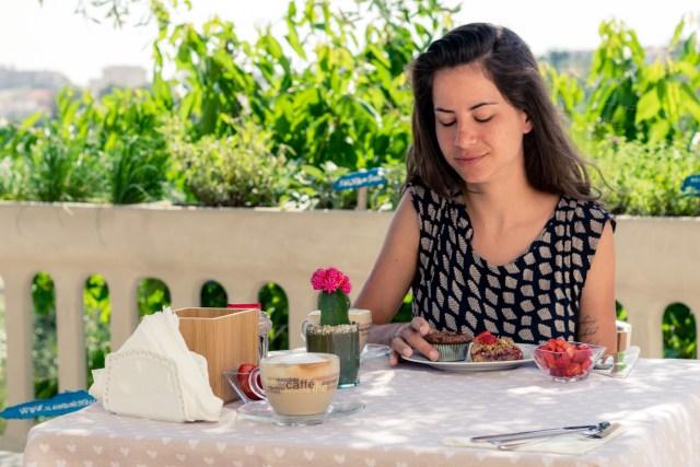 Fernanda having breakfast at B&B Il Giardino Stellato di Michela