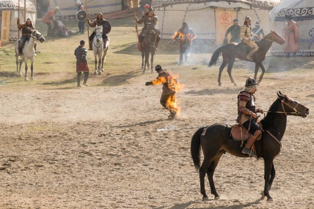 man on fire during a presentation of the World Nomad Games