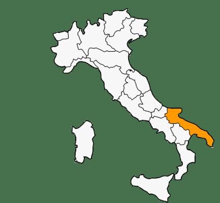 Mapa das regiões da Itália