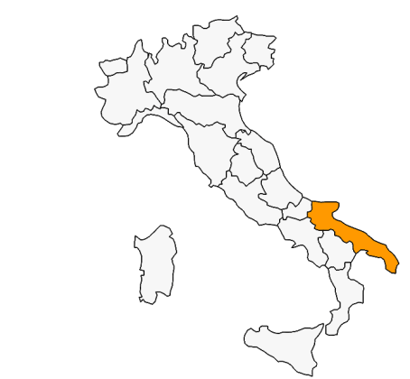 Map of the regions in Italy