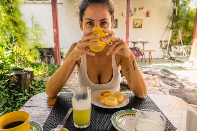 Fe having breakfast at Flor de Debora Inn