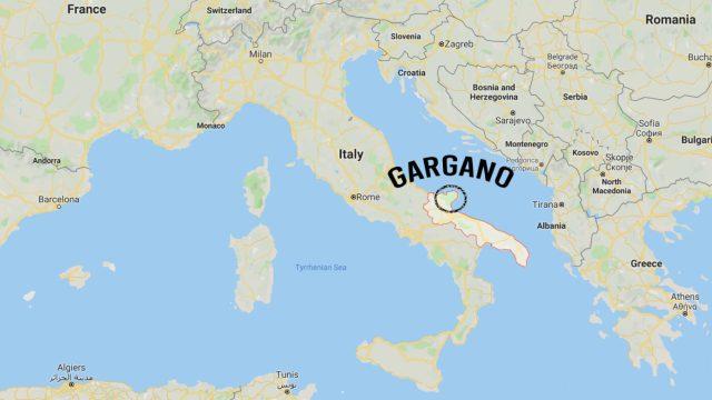 Mapa do Gargano na Itália
