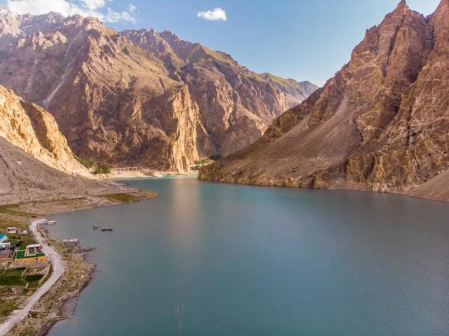 aerial shot of attabad lake
